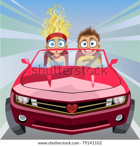 Boy and girl riding in a car at high speed - stock vector