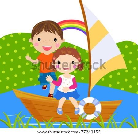 boy and girl sailing on lake - stock vector