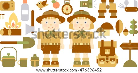 boy  and girl scout with camping equipment and object - vector illustration, set of flat icons