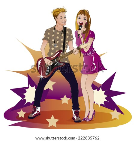 Boy and girl singing handling a microphone. The boy is playing guitar. The isolated figures can be moving separately. Colorful stage, modern outfit - stock vector