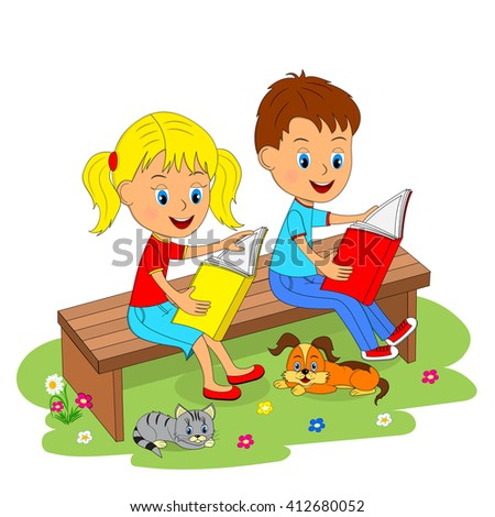 boy and girl sitting on the bench and reading, illustration, vector