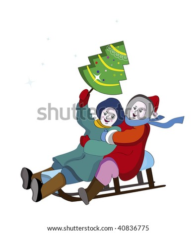 boy and girl sledding and happy holiday