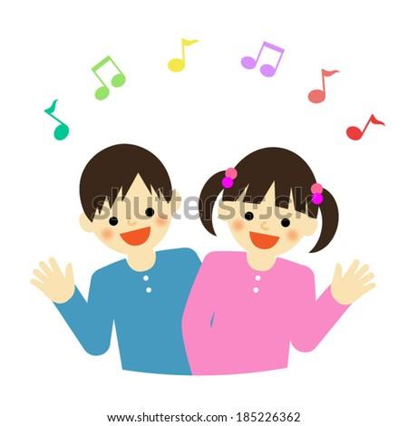 boy and girl / Vector EPS 10 illustration - stock vector