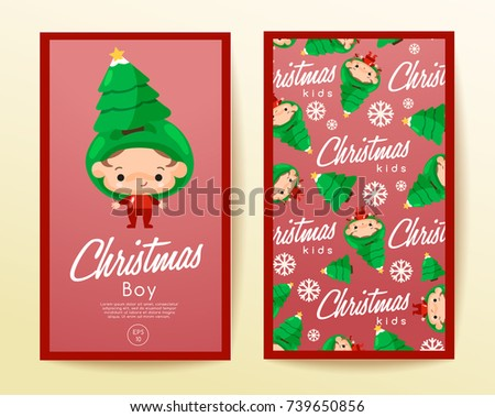 Boy and girl wearing Christmas fancy hat : Vertical Card Template : Vector Illustration