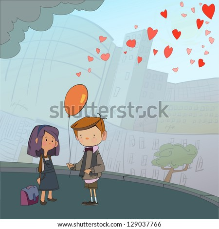boy and girl with balloon - stock vector