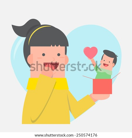 Boy and girl with surprise gift - valentine - vector