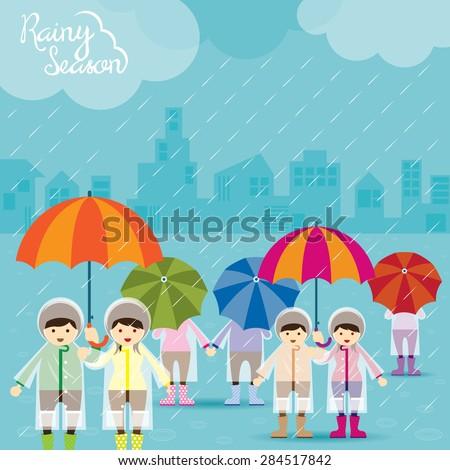 Boy and Girl with Umbrella Rainy Season , Monsoon, Rain,  - stock vector
