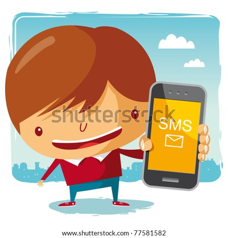boy and his mobile phone - stock vector