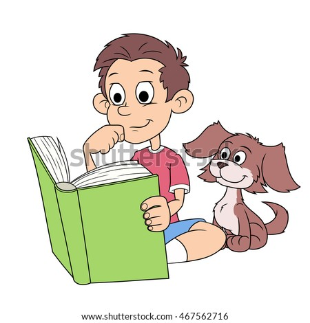 Boy and puppy reading a book 2