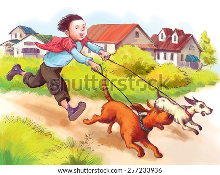 Boy and two dog (Labrador retriever) running on the street. Summer Activities. Children illustration for School books, advertising, magazines and more. Separate Objects. VECTOR. - stock vector