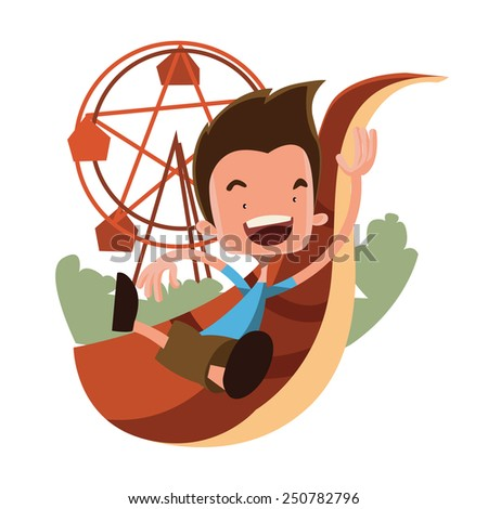 Boy at the luna park vector illustration cartoon character - stock vector