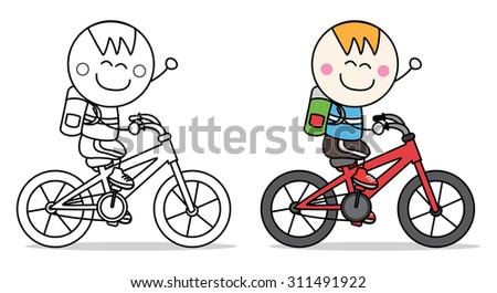 boy bicycle - stock vector