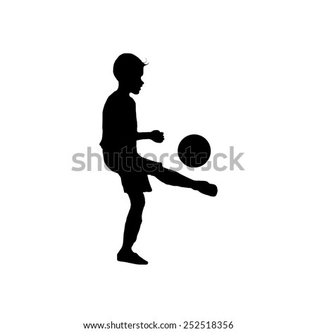 Boy  bouncing soccer ball on white background : silhouette vector : sport concept - stock vector