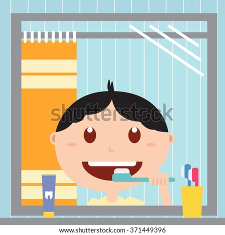 Boy brushing him teeth in front of a mirror in the bathroom. Happy baby with healthy teeth, toothpaste and toothbrush.Vector flat  illustrations. - stock vector
