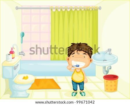 Boy brushing his teeth at home - stock vector