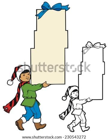 Boy carrying presents border - stock vector