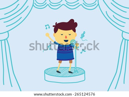 Boy cartoon sings a song with microphone on draw stage have curtain.