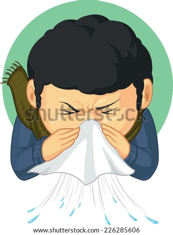 Boy Caught Flu and Sneezing - stock vector
