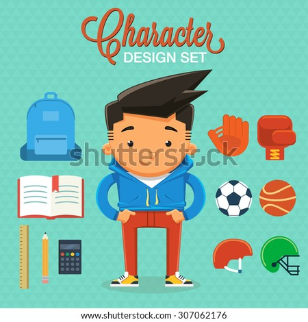 Boy character design with elements and accessories. Vector illustration - stock vector