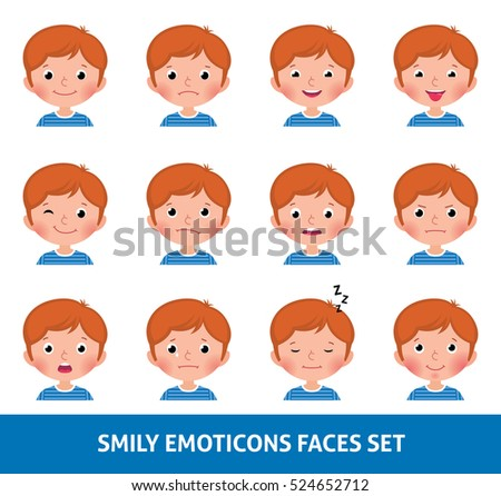 Boy child cute emoji, set smily emoticons faces vector illustration