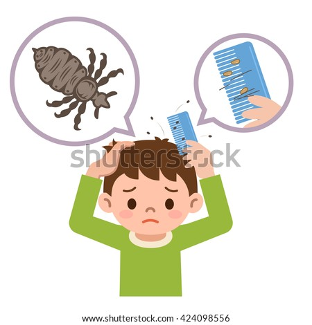 Boy comb the hair with a comb for lice - stock vector