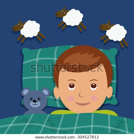 Boy counting sheep, under the blanket next to a teddy bear.