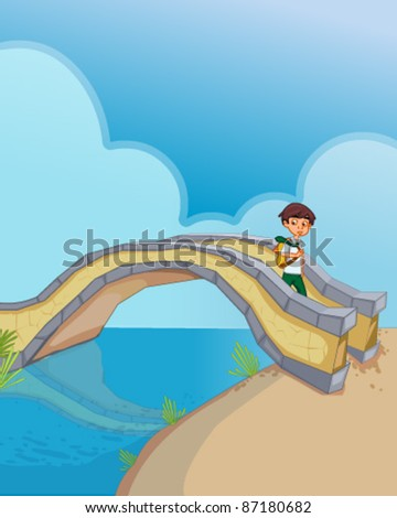 Boy crossing bridge - stock vector