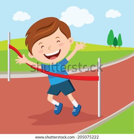 Boy crossing finishing line. Boy winning race.  - stock vector