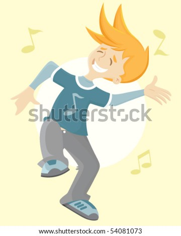 Boy dancing and having a good time - stock vector