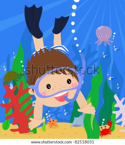 boy diving in the sea with mask and snorkel - stock vector
