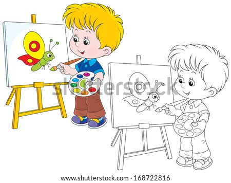 Boy drawing a picture with a funny butterfly - stock vector