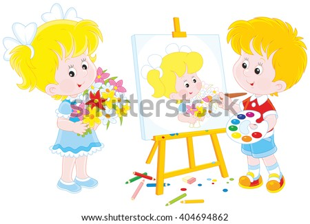 Boy drawing a portrait of a girl with flowers - stock vector