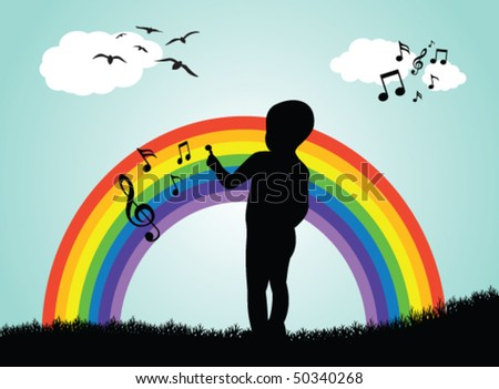 Boy drawing music notes on a rainbow