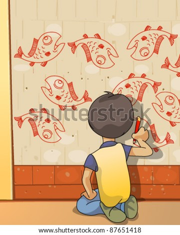 Boy drawing on wall - stock vector