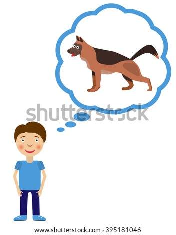 Boy dream about having dog. Dog inside think cloud. Vector illustration. - stock vector
