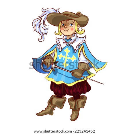 Boy dressed as musketeer for Christmas  vector