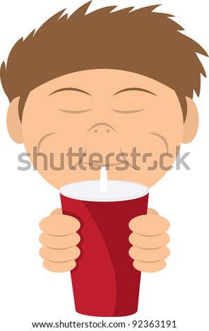Boy drinking a soda or shake from straw - stock vector