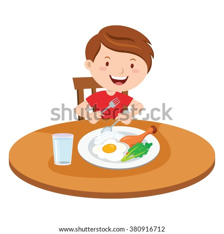 Boy eating meal. Vector illustration of a little boy eating lunch. - stock vector
