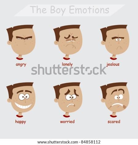Boy Emotions - stock vector