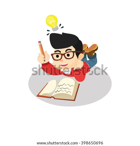 Boy getting idea for writing - stock vector