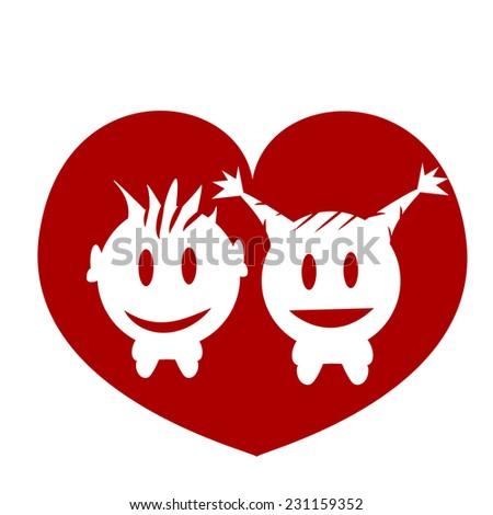 boy girl heart love  - stock vector