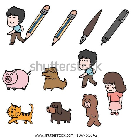 boy girl pig cat dog bear and drawing tool
