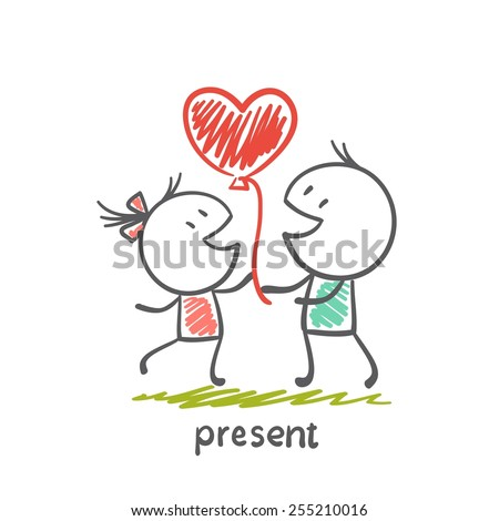 boy gives a balloon in the form of a heart girl illustration - stock vector
