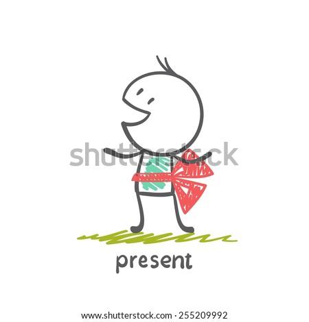 boy gives himself illustration - stock vector