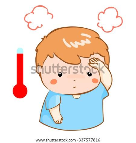 boy got high temperature cause flu disease vector - stock vector