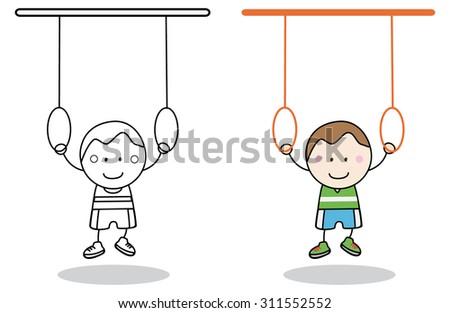 Boy Gymnastic - stock vector