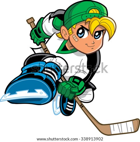 Boy Hockey Player. Anime and manga style blonde boy ice hockey player, with mischievous smile and determined look on his face, skating and holding hockey stick. - stock vector