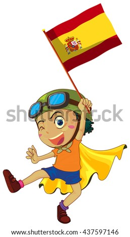 Boy holding Spain flag illustration