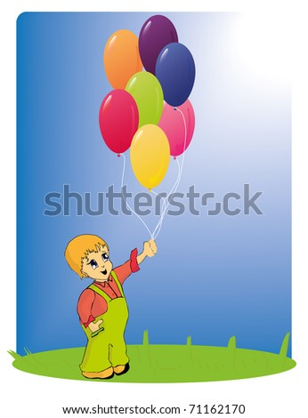 Boy holds the bunch of balloons