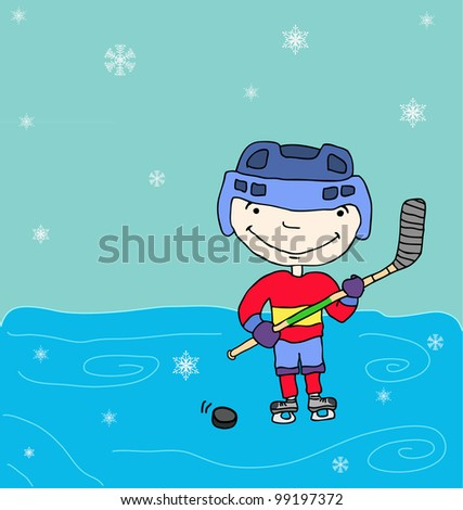 Boy in a hockey sports uniform. On the ice. - stock vector